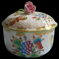 Vintage Herend Queen Victoria 1940s Trinket Box Jar With Lid Rose Knop TLC