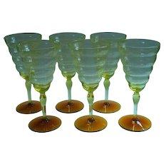 1920s Water Goblets Wine Glasses Vintage Cambodia Vaseline Amber Utlility Glass Works