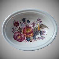 Vintage Crabtree Evelyn Mason's Soap Dish Peonies Bird Ironstone