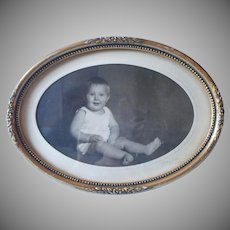 Antique 1910s Frame Oval Photo Standing Wood Gesso Gold Gilt