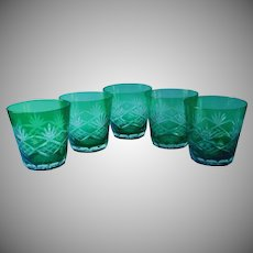 Green Cut To Clear Glass 5 Vintage Glasses Tumblers Double Old Fashioned