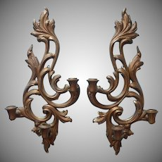 Syroco Wood Vintage Pair Large Wall Candle Sconces 3 Candles Each