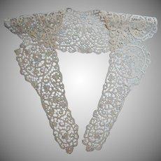 Antique Lace Collar Long Bobbin Lace Handmade