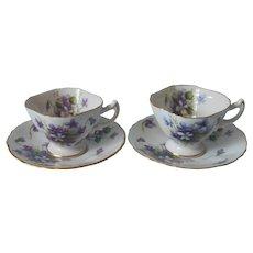 Rossetti Spring Violets 2 Demitasse Cup Saucer Vintage Occupied Japan China - Red Tag Sale Item