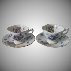 Rossetti Spring Violets 2 Demitasse Cup Saucer Vintage Occupied Japan China