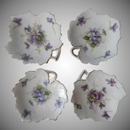 Rossetti Spring Violets China Tea Bag Holder Dish Butter Pats 3 Vintage Occupied Japan