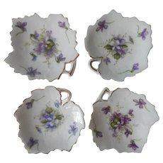 Rossetti Spring Violets China Tea Bag Holder Dish Butter Pats 3 Vintage Occupied Japan - Red Tag Sale Item