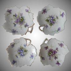 Rossetti Spring Violets China Tea Bag Holder Dish Butter Pats 3 Vintage Occupied Japan