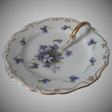 Rossetti Spring Violets Lemon Dish Vintage China Occupied Japan
