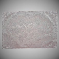 Lace Tray Doily Cloth Vintage White Cotton Machined Filet