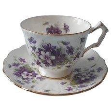 Aynsley Violette Vintage English Bone China Cup Saucer Violets - Red Tag Sale Item