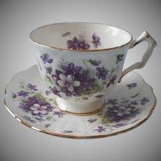 Aynsley Violette Vintage English Bone China Cup Saucer Violets