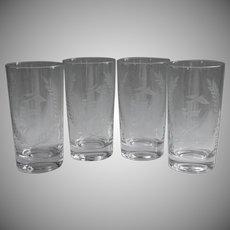 Monogram F Vintage 4 Glasses Tumblers Garland Cut Decoration