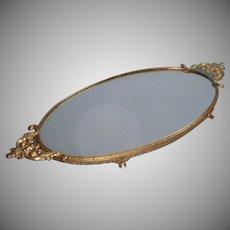 Vintage Vanity Tray Perfume Mirror Ornate Handles Rim