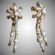 Vintage Milk Glass Earrings Long Drippy Rhinestones Dangle TLC