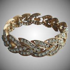Crown Trifari Vintage Bracelet Rhinestone Braid Herringbone TLC