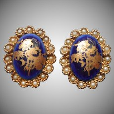 Limoges Porcelain Earrings Vintage Clip Cobalt Blue France Faux Pearls