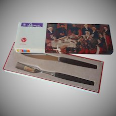 Vintage Mid Century Teak Wood Handles Stainless Steel Carving Knife Serving Fork Set