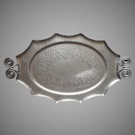 Aluminum Serving Tray Vintage Hammered Coiled Handles Ivy Leaves