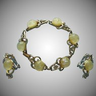 Vintage Coro Yellow Confetti Lucite Rhinestone Bracelet Clip Earrings Set