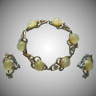 Vintage Coro Yellow Confetti Lucite Rhinestone Bracelet Clip Earrings Set