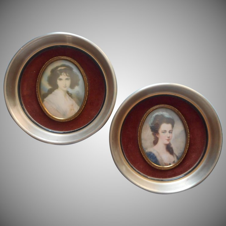 Vintage Pair Convex Glass Cameo Creations Portrait Ladies Round