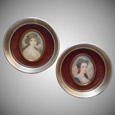 Vintage Pair Convex Glass Cameo Creations Portrait Ladies Round Frames