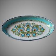 Vintage Steinbock Austria Enamel Aqua Gold White Oval Bowl Dish