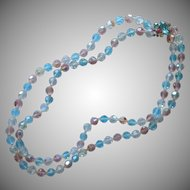 Vintage Cut Crystal Beads Necklace Pink Blue 2 Strand Rhinestone Clasp