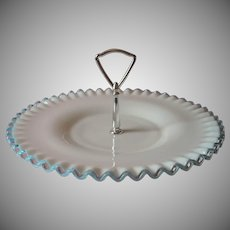 Fenton Aqua Crest Vintage Center Handle Server Serving Plate