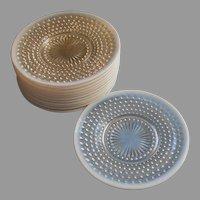 Set 12 Vintage Opalescent Moonstone Plates Anchor Hocking
