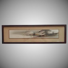 1920s Japan Gold Accents Ink Wash Painting Wood Frame Vintage Landscape