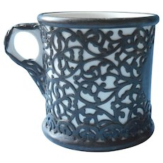 Antique Mug Filigree Silver Plated Shell Heavy China