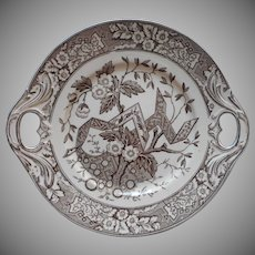 Wedgwood Beatrice Transferware China Serving Plate Antique Pierced Self Handles Brown