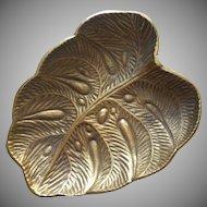 Virginia Metalcrafters Brass Leaf Vintage Dish Rare Monstera
