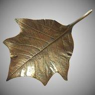 Virginia Metalcrafters Vintage Brass Poinsettia Leaf Dish