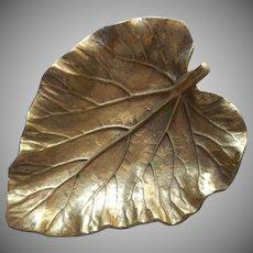 Virginia Metalcrafters Brass Vintage Rhubarb Leaf Dish Ashtray