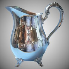 Water Pitcher Silver Plated Vintage Ornate Feet Handle
