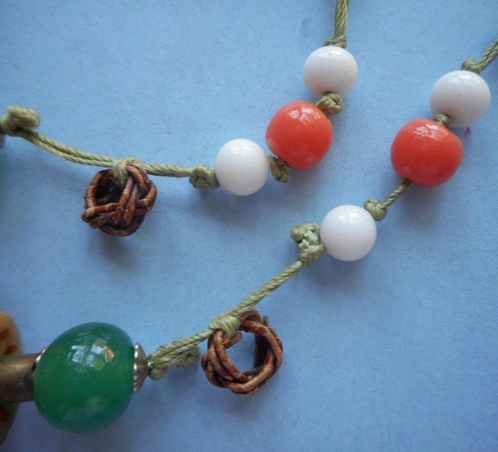 Vintage Chinese Necklace Glass Carved Tagua Nut Beads On Cord