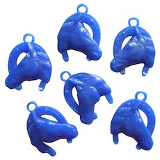 Vintage Horse Cracker Jack Charms Blue Hard Plastic Charm Horseshoe