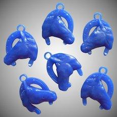 Vintage Horse Cracker Jack Charms Blue Hard Plastic Charm Horseshoe