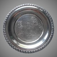 Victorian Child's Plate Silver Plated Antique Dog Two Girls Homan