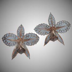 Filigree Orchids Earrings Vintage Screw Back Orchid Delicate