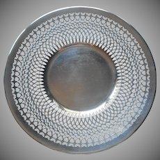 Silver On Copper Vintage Pierced Plated Salver Serving Plate Vintage