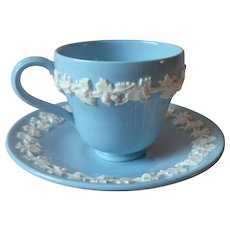 Wedgwood Queensware Demitasse Cup Saucer Blue White