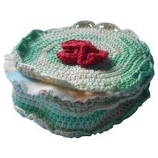 Vintage Stockings Mending Kit Crocheted Holder Darning Thread
