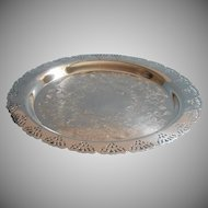 Vintage Tray Silver Plated Lace Pierced Rim Oneida For Home Decorators