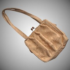 Vintage Italian Tooled Leather Purse 1950s Cream Gold