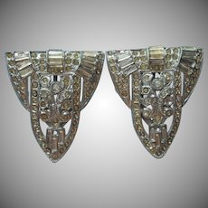 1930s Dress Clips Pair Vintage Art Deco Rhinestone TLC