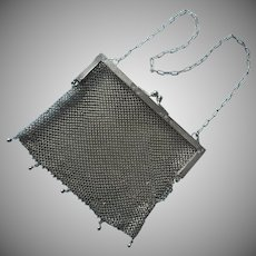 Antique German Silver Mesh Purse Engraved Frame TLC Needed